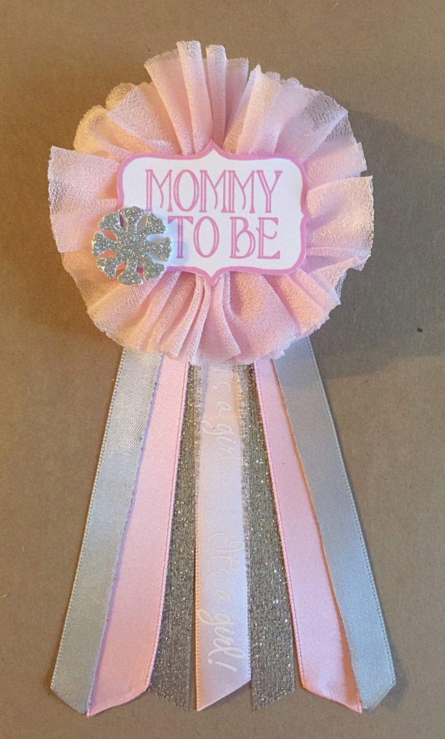 pink snowflake baby shower corsage pin baby its cold by afalasca