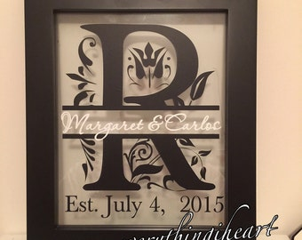 Wedding anniversary monogrammed floating picture frame