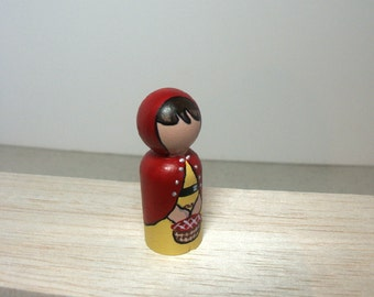 Red Riding Hood fairy tale faceless waldorf doll house peg dolls gift toy