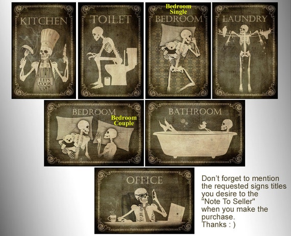 Skeletons door signstoilet by totallost on etsy for Salle de bain door sign