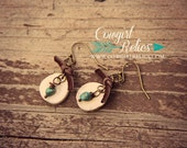 Rustic Earrings, Western Chic, Turquoise, Deer Antler Slice, Deerskin Leather