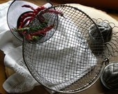 PENDING/Primitive Rare FRENCH Bakery Rare 1800s Wire Ware Lg. All Hand Crimped Handled Basket, No Rust or Baked on Old Blackened Grease