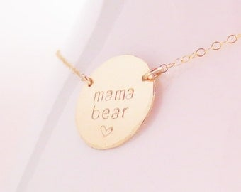 Personalized Gold Mama Bear Disc Necklace, Customized Personalization, Mother's Day, Handstamped, Handmade, Name Necklace,