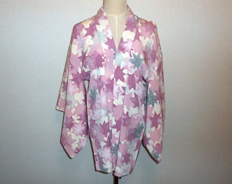 SALE 70%off!! - Vintage haori - Maple leafs, Purple and faded green