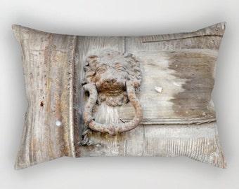 Lion at the Door, rectangular pillow, photographic, lion pillow, door knocker, weathered, whitewash, grunge, wood grain, distressed, Greece
