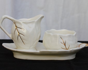 Royal Winton Mini Sugar and Creamer with Tray, leaf shaped with gold trim, vintage 1940s