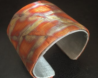 Copper and Stainless Steel Metal Cuff Bracelet in Abstract Design - Color Kissed - One of a Kind