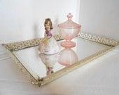 Vanity Mirror Tray Rectangle / brass filigree mirror tray