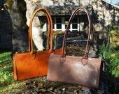 Chocolate B-Bag 10 inch - Handstitched leather handbag