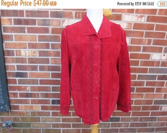ON SALE Red Faux Suede Blazer XL