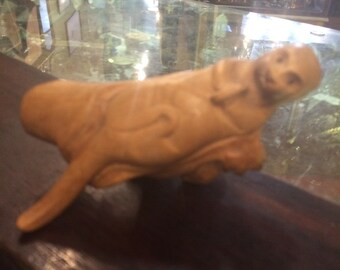 Vintage artist carved wood animal otter burl handmade figure free shipping sale
