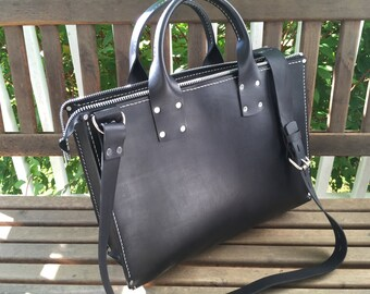 Leather Business Tote* Black Leather Tote* Business Bag* Shoulder Bag* Leather Bag* Black Leather Bag* Handmade in the USA* Custom Leather