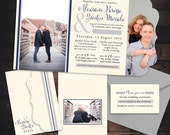 Classic Tri-fold Wedding Invitation - Boutique Tri Folded - Photo Wedding Invites - Custom Typography - Unique Wedding Invitations