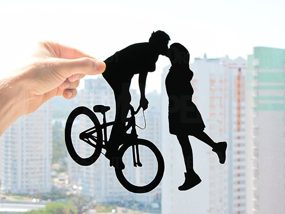 Bicycle Kissing Couple, Gift Ideas for First Year Wedding Anniversary, Traditional First Wedding Anniversary Gift, Gifts for 1 Anniversary