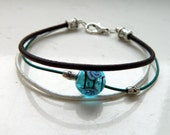 Natural Dark Brown Pearl Teal Leather Shiny Blue Glass Focal Bead Bracelet - Inspired by Black Sails