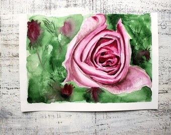 Original botanical watercolor painting 8x12' kitchen decor nursery decor pink rose