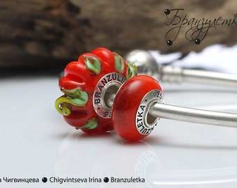 Pumpkin orange - set 2 pc European artisan glass Bead lampwork - Charm trollbeads beads with a large hole - 925 silver core
