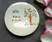 Personalized Blue Bird and Tree Ring Holder Little Bird Ceramic Ring Dish Ivory Ring Pillow Custom Ring Bearer Bowl Eco Friendly Pottery