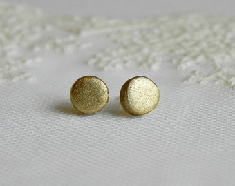Modern Ceramic Earrings Small Stud Metal Gold Pottery Surgical Steel Post