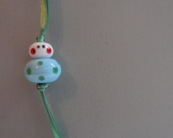 Good luck charm - light blue green polkadots - free gift pouch