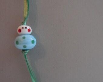 Good luck charm - light blue green polkadots - free gift pouch