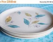 "ON SALE Vintage Salem Biscayne Luncheon Plates 9 1/4"", Set Of 4, Mid Century Modern, Turquoise, Floral, China, 50's, Housewares, Kitchen, Pl"
