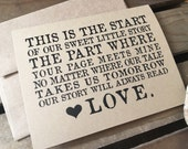 Our LOVE STORY - Wedding Day Card to Bride or Groom  - Anniversary - Recycled - Eco Friendly
