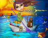 "ON SALE Title: ""Flow""  Inspirational colorful Giclee Art Print Boat Ocean"