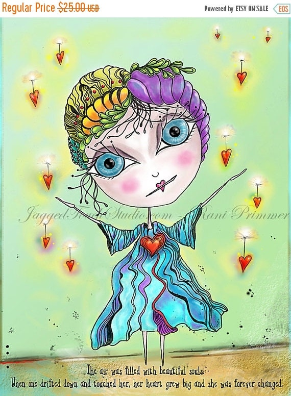 """ON SALE Title: """"Souls"""" (without tear)  Inspirational and colorful Giclee Art Print 8.25x10.75."""