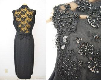 Vintage 90s Button Up Lace Applique Beaded Shirt Dress Vest Black Long Maxi Tuxedo