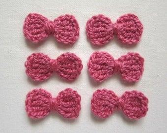 """6pcs 1.75"""" Crochet PINK Little BOW Applique"""
