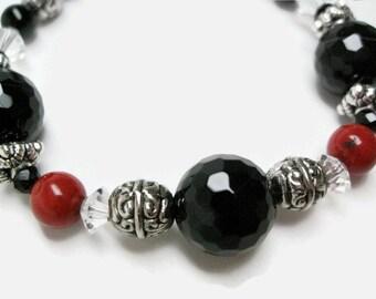 Black Onyx Bracelet red bracelet red coral jewelry black bead bracelet womens bracelet handmade jewelry onyx gemstone jewelry coral bracelet