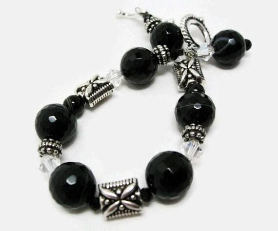 Onyx Bracelet beaded black stone beadwork statement bracelet semiprecious gemstone Swarovski crystal toggle bracelet gift for her     r