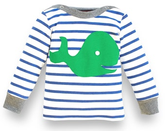 baby boy shirt, organic baby shirt, organic cotton shirt, newborn baby boy clothes, whale shirt blue white stripes, 100% organic cotton
