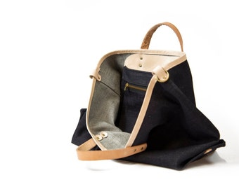 Denim Tote - Raw denim, veg tan leather, carry all, tote bag, simple denim bag.