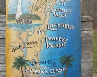 Hammock Coast of SC beach  map Sign, hand painted, original, ZD SC4