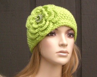 Knit Headband Head Wrap Earwarmer Lime Green with Crochet Flower Green Sparkle Button