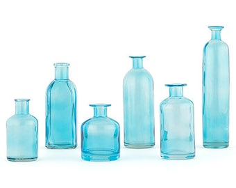 Glass Bottle Set Ideal Used as Flower Vases or Creating Decorative Table Scapes or Keepsakes