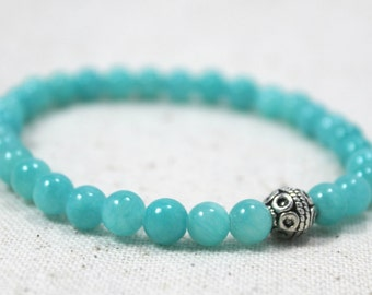 Auqa Blue Quartzite Stretch Bracelet with Silver Plated Tribal Accent Bead / Gifts under 20