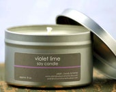 Violet Lime Soy Candle Tin 8 oz. - lime soy candle - violet soy candle - summer soy candle - fresh scent candle - spring scent candle