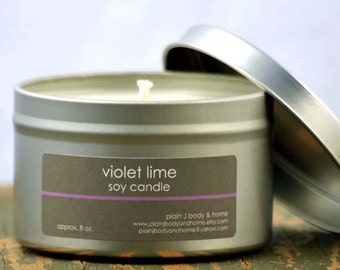 SALE - Violet Lime Soy Candle Tin 8 oz. - lime soy candle - violet soy candle - summer soy candle - fresh scent candle - spring scent candle
