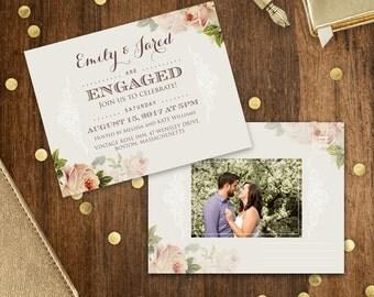 Printable Engagement Invitation, Rustic Engaged party invitation template, Postcard Engagement invitation, Floral engagement party invite