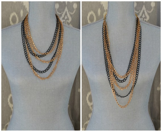 Long Layered Chain Necklace - Multi Strand Chain Necklace - Long Gold and Black Necklace - Long Chain Statement Necklace - Layered Necklace