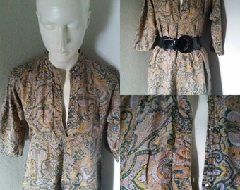 Vintage silky floral paisley hippie bogo mini dress smock twiggy dress bathing suit cover up