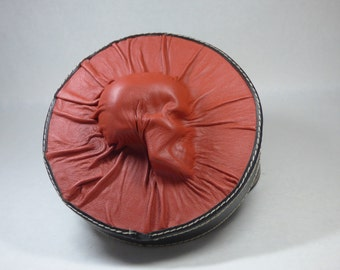Skull Black Red Leather Studded Round Storage Box Goth