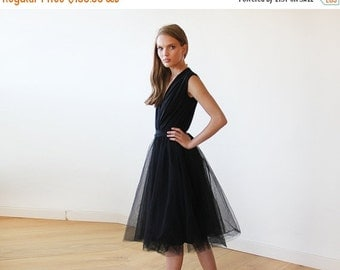 Black midi sleeveless tulle dress, Black bridesmaids tulle short gown