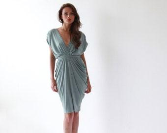 Sage formal bridesmaids gown, Knee length sea foam dress
