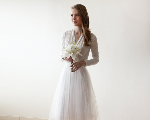 Ivory V Neck Maxi Dress Minimalist Wedding Gown: Ivory Maxi Tulle Gown With Long Sleeves Wedding Maxi Tulle