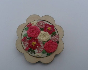 Hand embroidered floral brooch