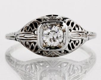 Antique Engagement Ring - Antique 1920s 18k White Gold Filigree Diamond Filigree Engagement Ring